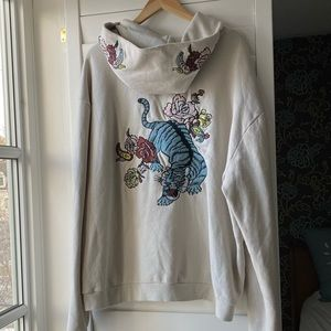 Floral tiger embroidered hoodie